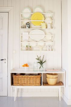 Example of a cottage chic kitchen design in Other with open cabinets and white cabinets #kitchen #shabby-chic-style