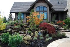 landscaping-ideas-for-front-yard-Landscape-Southwestern-with-albuquerque-Xeric-color-xeriscape - Fireangels Gardening & Landscaping Sloped Front Yard, Small Front Yard Landscaping, Front Yard Design, Hillside Landscaping, Luxury Landscaping, Landscaping Ideas, Backyard Stream, Traditional Landscape, Water Features