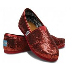 $28.19!! Red Toms Glitter Shoes For Women sale on toms outlet.