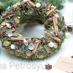 Rustic Christmas Wreath for a table. Wreath by WorkshopByInnaSt Christmas Wreaths For Front Door, Xmas Wreaths, Rustic Christmas, Xmas Decorations, Natural Materials, Tree Branches, A Table, Candles, Holiday Decor