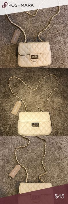 PRICE DROP!!!! 👛 Cream and gold quilted bag. Super chic! NWT!  Crossbody strap is about 2ft Long! Pink Haley Bags