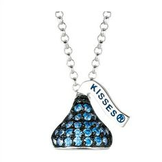 Designed in Sterling silver with arctic blue Cubic Zirconium , this Small Flat Back Hershey's Kiss September Pendant includes an 16 inches with 2 inch extension Rolo chain with Lobster claw.