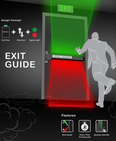 Exit Guide – Emergency Exit Door by Shang-Yi Lin - Exit Guide is an evacuation system linked to the building's fire alarm system. When the alarms go off, the green and red lights on the evacuation door light up, indicating which direction (or floor) you need to move to.   Yanko Design