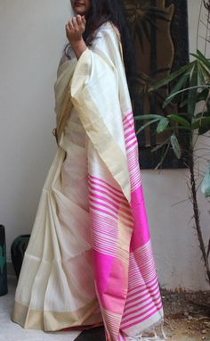 White and pink south raw silk