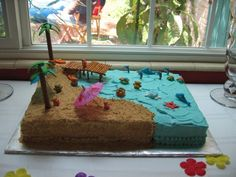 I made a cake with a beach scene for a friend's daughter's 6th birthday party using a full sheet cake pan. I made a chocolate cake with buttercream icing, half tinted with aqua food col…