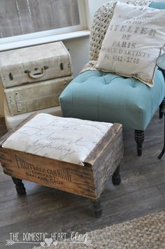 Create a foot stool out of a vintage crate with pre-made furniture legs you simply screw on! It easy and cute! See the tutorial at TheDomesticHeart.com