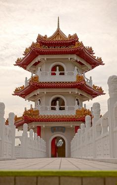 One of the twin Pagoda buildings- Singapour/ Chine Singapore Island, Singapore Travel, Laos, Places To Travel, Places To See, Places Around The World, Around The Worlds, Beautiful World, Chinese Architecture