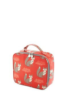 Fox Over Knives Lunch Bag - Red, Print with Animals, Tan / Cream, Eco-Friendly, Better