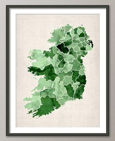 Ireland Watercolor Map, Art Print - 12x16 up to 18x24 inch (767) on Etsy, $21.95