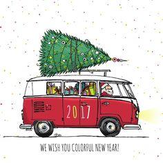 Mooie en grappige kerstkaart van een leuke hippe bus in rood met kerstboom. Bijzondere vrolijke confetti als achtergrond, ook met binnenkant.