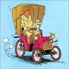 Tintin and Snowy out for a drive...