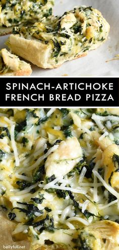 Rotisserie or seasoned baked chicken is added to classic spinach and artichoke dip, then baked on French Bread. You will love this Spinach Artichoke French Bread Pizza recipe as an easy appetizer or filling meal! Vegetarian Recipes Easy, Pizza Recipes, Appetizer Recipes, Dinner Recipes, Cooking Recipes, Appetizer Dessert, Dinner Ideas, Catering Recipes, Flatbread Recipes
