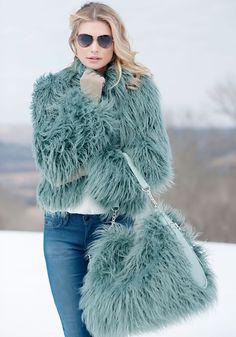 Dusty Teal Tibetan Lamb Fashionista Faux Fur Jacket | Fabulous-Furs