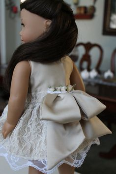 American Girl Doll champagne lace dress 18 inch by LoveEllieBean, $30.00