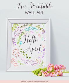 Free Hello April Wall Art Printable