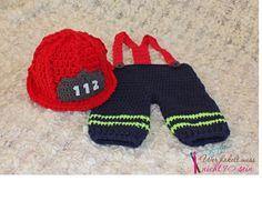 Gehäkelter Feuerwehrhelm & Hose / Crochet Firefighter