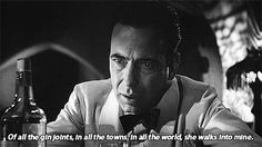 Do I have to tell you this is Humphrey Bogart in Casablanca (Michael Curtiz, 1942)?