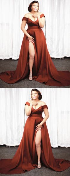 simple burnt orange bridesmaid dresses plus size satin formal gown off the shoulder with leg split