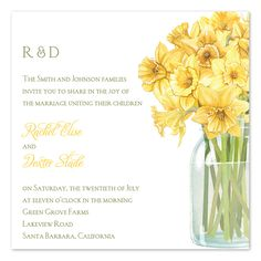 Daffodil Bouquet wedding invitations designed by Nicole Tamarin