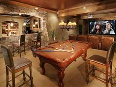 Love the game room/wetbar/movie room idea