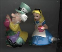 Disney Alice In Wonderland Salt & Pepper USA. This Salt and Pepper set is made of Porcelain and they are very well done. They are in Mint Condition. Price 80.99 at ToysbyStacy.com