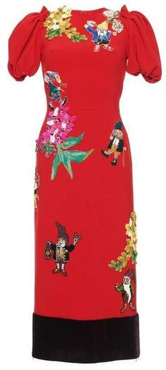 Appliques Embellished Fairytale Dress in Red