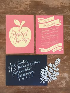 Bridal shower invitation with modern hand calligraphy, by Katherine Wehde, Weeds & Whimsy