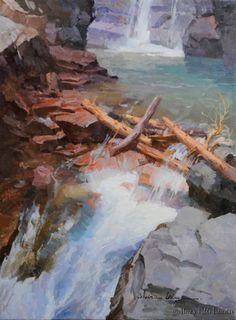 "Calvin Liang - ""Water Fall in Glacier"" Watercolor Landscape, Landscape Art, Landscape Paintings, Waterfall Paintings, Virtual Art, California Art, Amazing Paintings, Autumn Painting, Mountain Paintings"