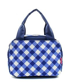 """Plaid Gingham Checkered Navy Blue 9"""" Insulated Lunch Bag Box Lunchbox"""