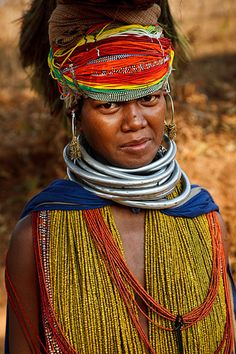 Bonda tribal Woman in traditional dress - Orissa Tribe, India