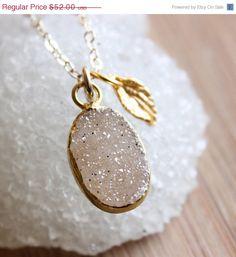 SALE Champagne Agate Druzy Gemstone Necklace  with Leaf by OhKuol, $44.20