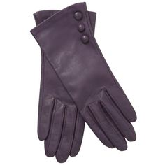 John Lewis Button Silk Lined Leather Gloves, Dark Purple ($63) ❤ liked on Polyvore