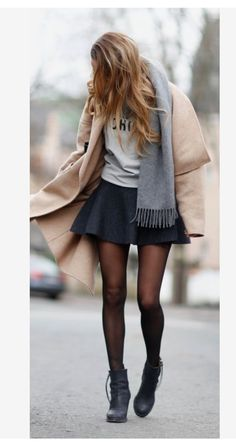 Camel cost with skirt, casual but cute loveeerr
