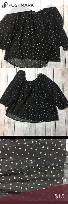 "Beautiful polka dot black blouse 👚 💕 Super cute black blouse with polka dots. It doesn't come with any tags at all but it's a size medium. Does not come with under lining so it is sheer but looks great with a black under shirt . MEASUREMENTS: length: 19"" - arm pit to arm pit: 23"" 💙 Tops Blouses"