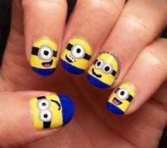 Cute cartoon nail art #nail #art www.loveitsomuch.com