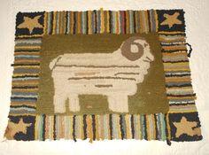 Antique FIGURAL 'RAM' HOOKED RUG primitive folk art American Country
