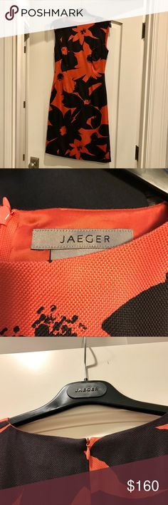 Jaeger sunflower dress (coral black) - 8 Jaeger black and coral sunflower dress in size 8 (US-8, UK-10). Lined and in perfect condition! 🌼 Jaeger Dresses