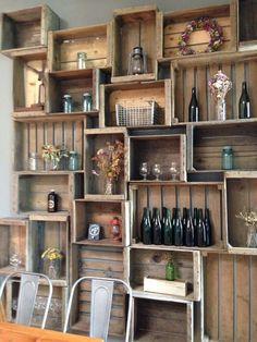 pub decoration 3 Wine Cellar, Bottle Shop, Bottle Display, Wood Crate Shelves, Crate Bookshelf, Wooden Bar, Wooden Crates, Wine Crates, Pub Design