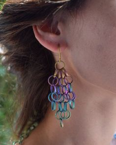 Large bold titanium dangle earrings with a playful and colorful mood Boho Earrings, Fashion Earrings, Stud Earrings, Chain Rings, Titanium Jewelry, Gifts For My Wife, Wedding Ring Bands, Small Businesses, Ears