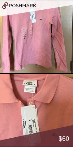 3152a521e5 Lacoste Roseraie Long Sleeve Stretch Polo NWT Authentic Lacoste Roseraie  Long Sleeve Stretch Polo NWT size 34/2. Dusty rose color.