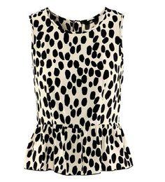 Spots Print Falbala Hem Chiffon Vest @ MayKool.com