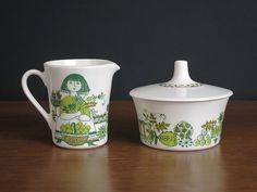 Vintage Figgjo Market Cream & Sugar  1960s by EightMileVintage #green #white