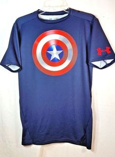 Marvel Captain America Winter Soldier Heatgear Compression Shield Mens XL Shirt  #UnderArmour #ShirtsTops