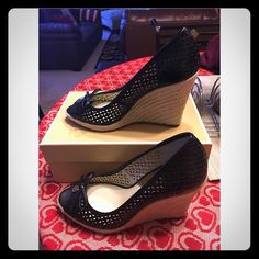Black Olivia Wedge BRAND NEW WITH BOX!! Black Olivia Wedge  Michael Kors Espadrille Wedge  Laser Cut Detail  Size: 9.5 Michael Kors Shoes Wedges