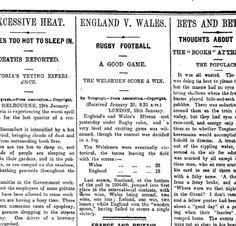 """Rugby History : today 18/01 in 1908 England 18-28 Wales Bristol City AFC's Ashton Gate was the stage for the most unusual England-Wales match of the entire series. The players were shrouded in fog to the frustration of a crowd of 25,000. Wales won the so-called """"phantom-match"""" 28-18 thanks to two tries from centre Rusty Gabe. (original newpaper report above from 1908)"""