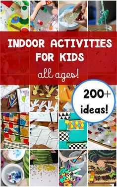 Huge list of easy indoor activities for kids. Organized by learning theme like science, math art, etc.