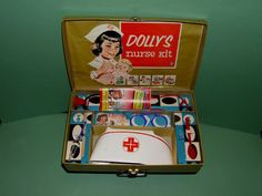 """RARE 1960s Hasbro """"Dolly's Nurse Kit"""" NRFB!! This set comes from the Ruby Lane Shop of Diane's Dolls with a Past."""