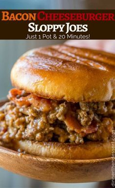 Bacon Cheeseburger Sloppy Joes with ground beef, tomato gravy, cheddar cheese and crisp bacon is the ultimate bacon cheeseburger indulgence!