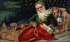 Green Robed Santa in Sled with Toys