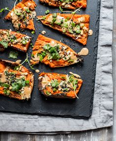thai peanut sweet potato skins — whats cooking good looking Vegetarian Recipes, Cooking Recipes, Healthy Recipes, What's Cooking, Healthy Food, Party Food To Make, Healthy Superbowl Snacks, Vegan Snacks, Sweet Potato Skins